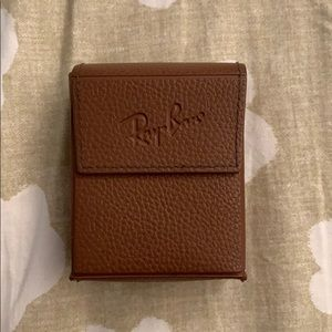 Ray-Ban Accessories - Mini Rayban foldable brown leather sunglasses case